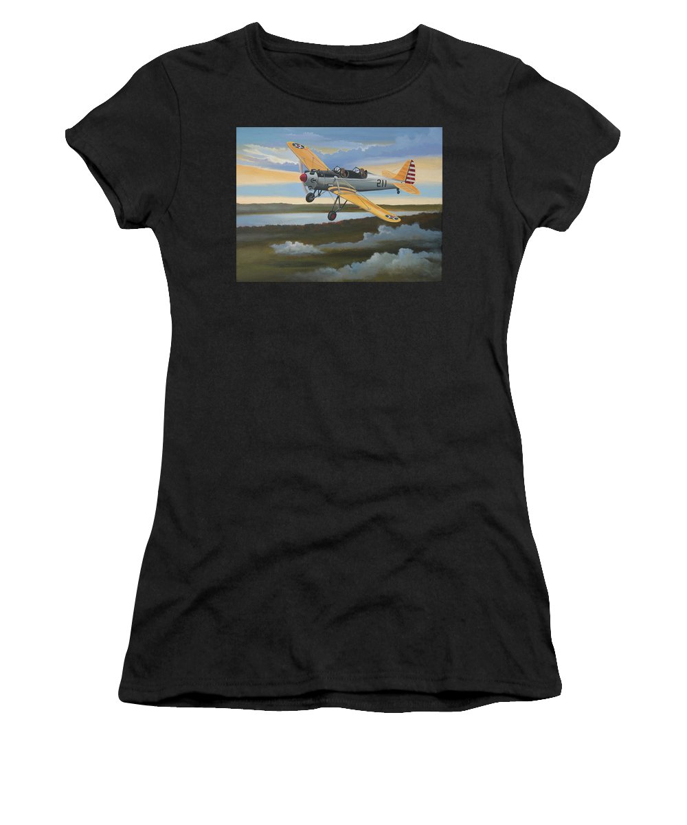 Aviation Women's T-Shirt (Athletic Fit) featuring the painting Ryan Pt-22 Recruit by Stuart Swartz