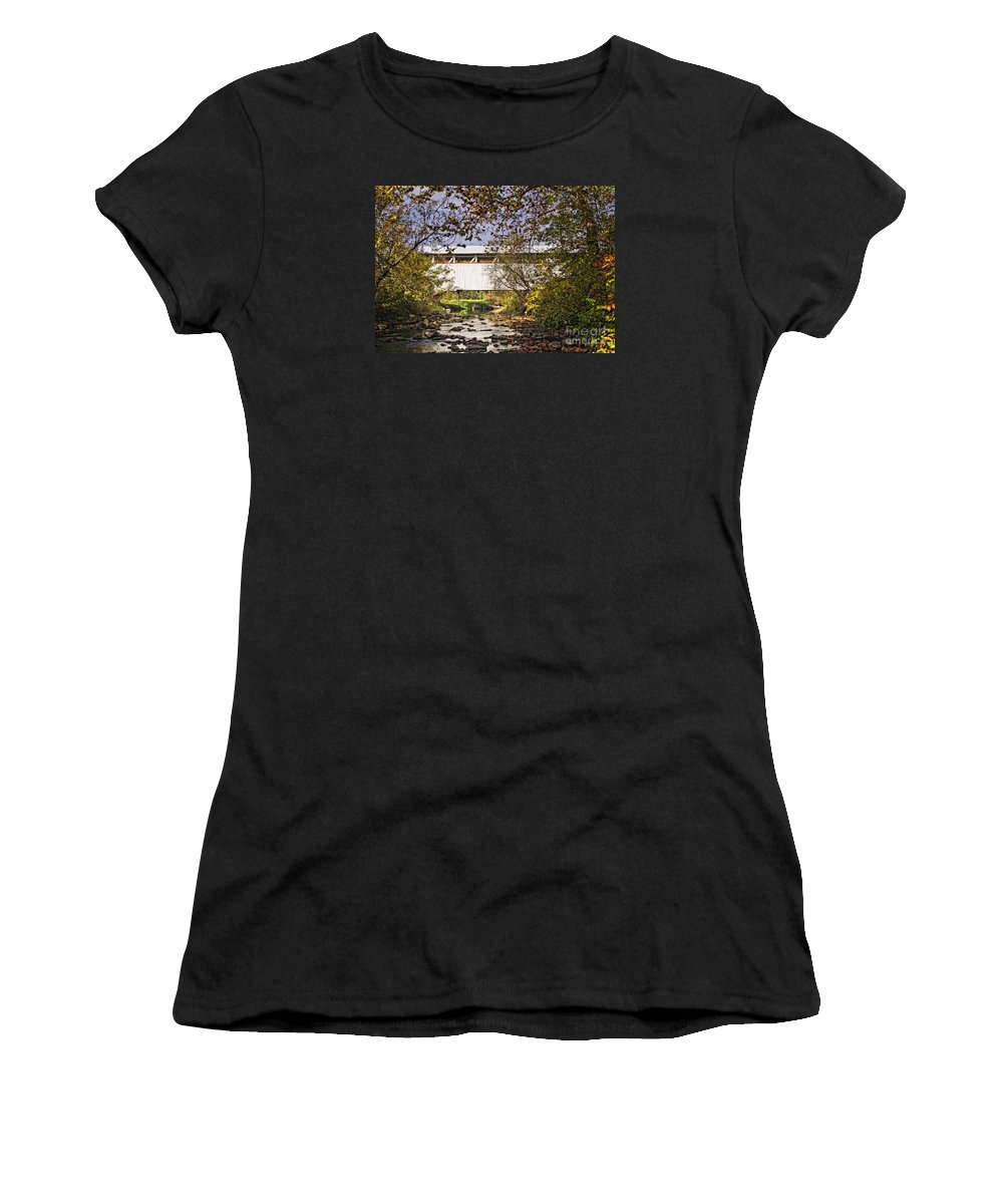 Ryot Covered Bridge Women's T-Shirt (Athletic Fit) featuring the photograph Ryot Covered Bridge And Stream by Timothy Flanigan