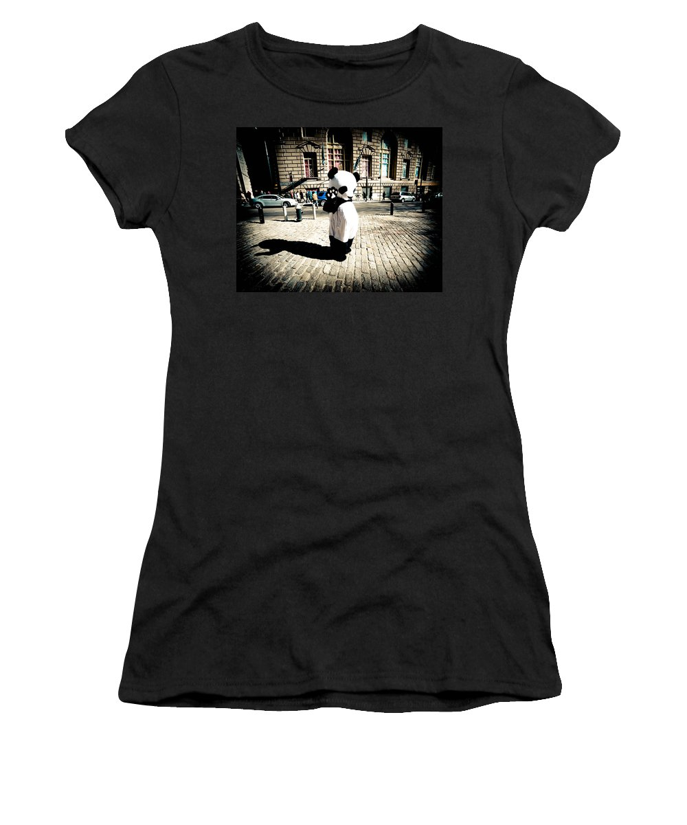 New York Charachters Women's T-Shirt (Athletic Fit) featuring the photograph Sad Panda by Zina Zinchik