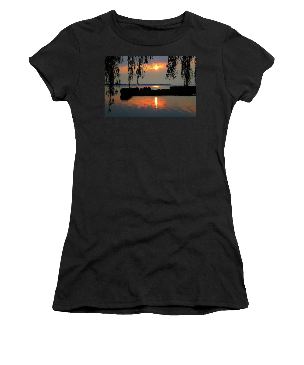 Weeping Women's T-Shirt (Athletic Fit) featuring the photograph Sadness At Days End by Frozen in Time Fine Art Photography