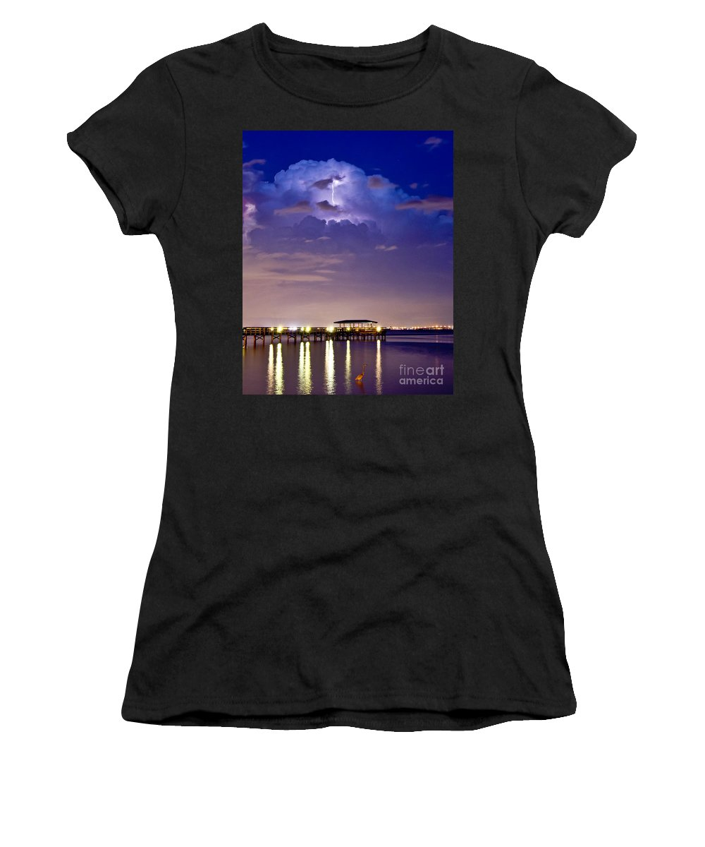 Lightning Women's T-Shirt featuring the photograph Safety Harbor Pier Illuminated by Stephen Whalen