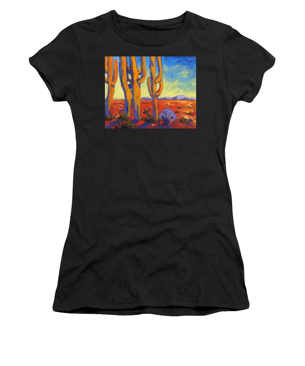 Arizona Women's T-Shirt featuring the painting Desert Keepers by Konnie Kim