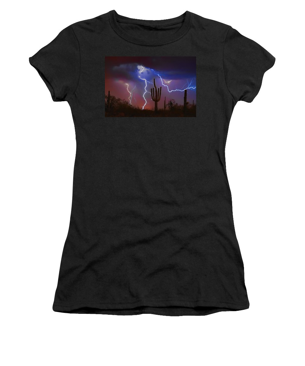 Saguaro Women's T-Shirt featuring the photograph Saguaro Lightning Nature Fine Art Photograph by James BO Insogna