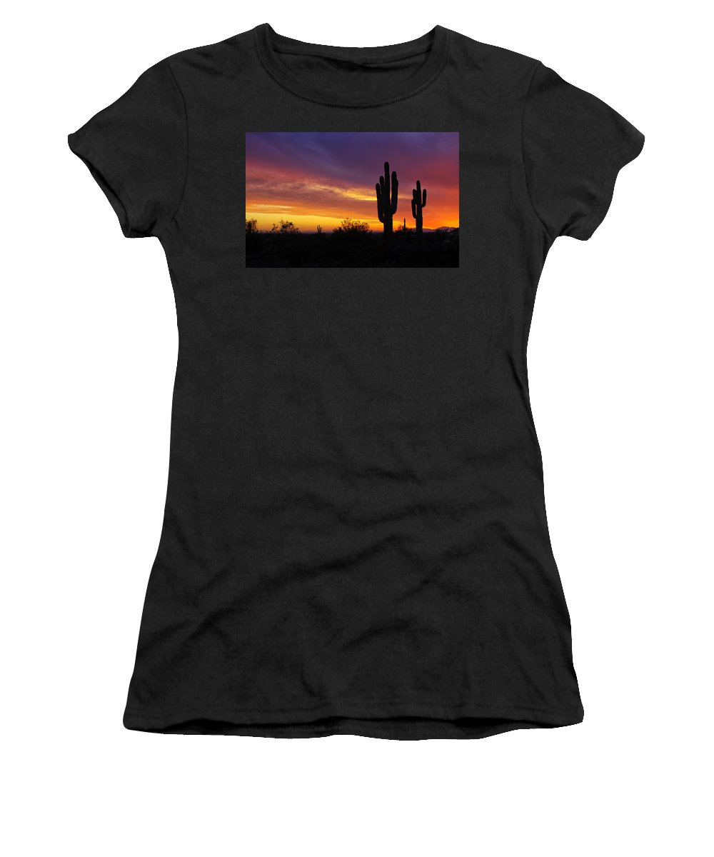 Sunset Women's T-Shirt featuring the photograph Saguaro Sunset II by Saija Lehtonen