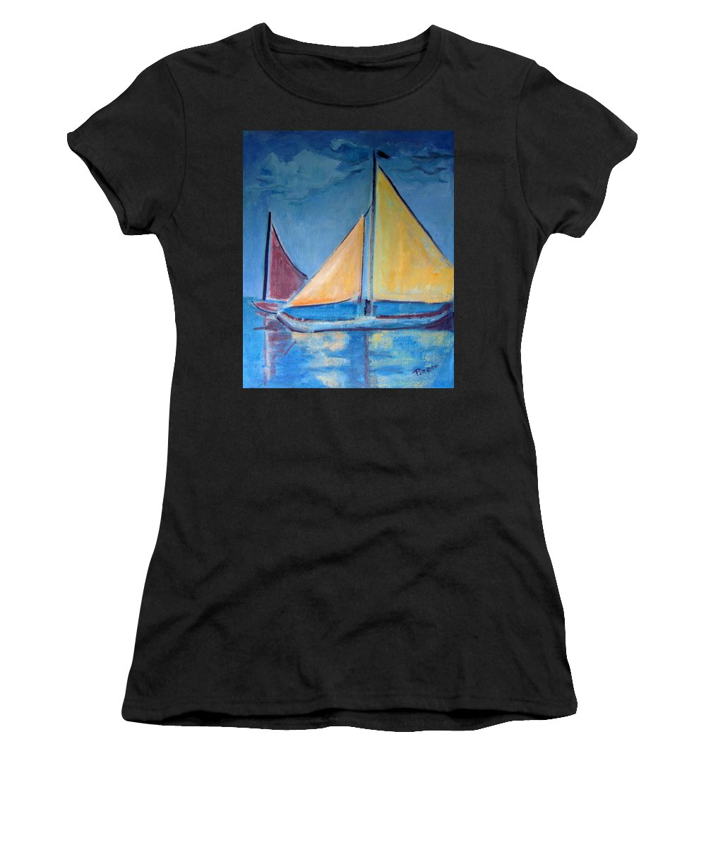 Sail Boats Women's T-Shirt (Athletic Fit) featuring the painting Sailboats With Red And Yellow Sails by Betty Pieper