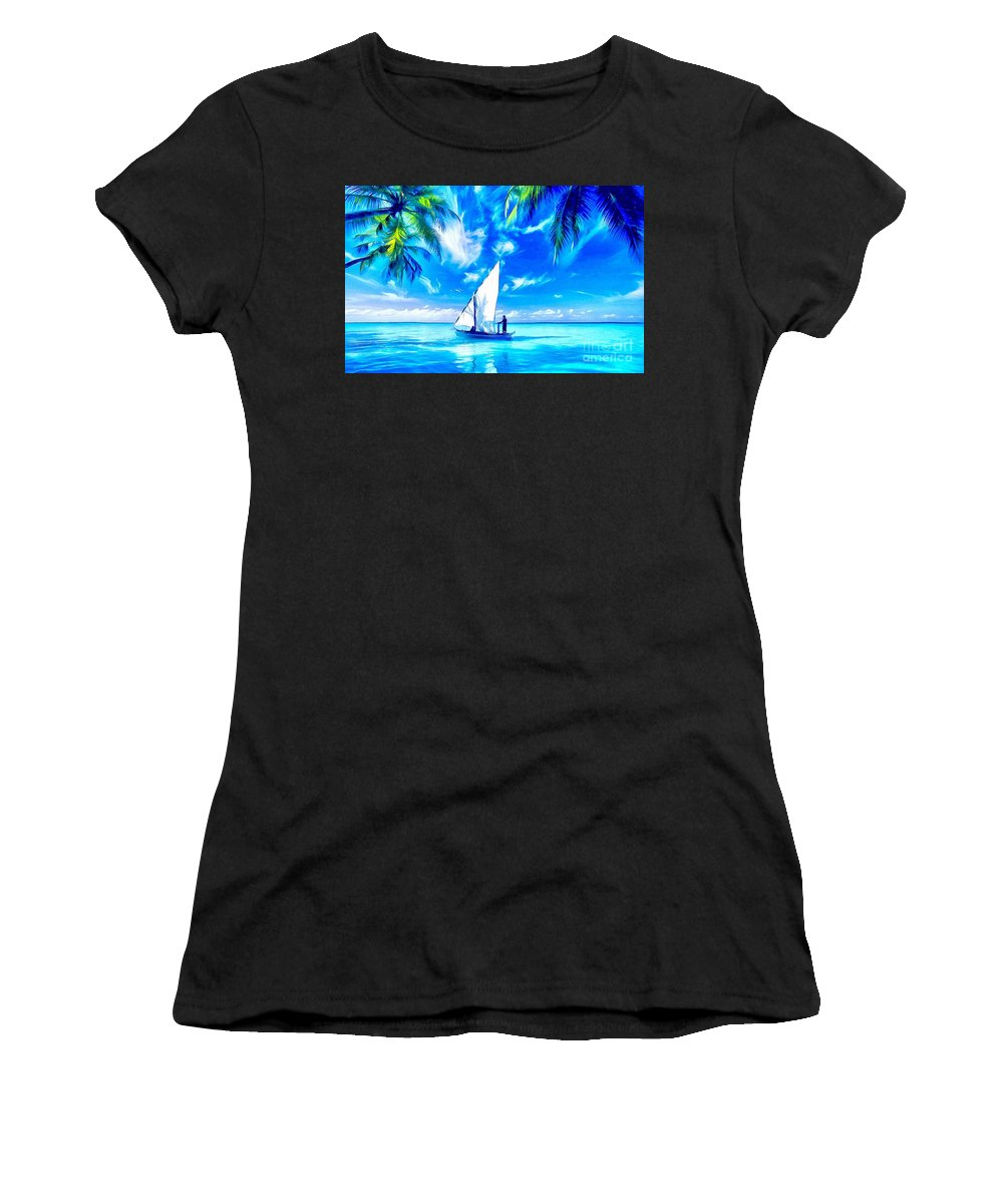Sailing Women's T-Shirt (Athletic Fit) featuring the painting Sailing by Catherine Lott