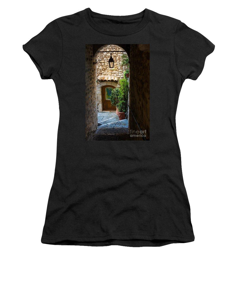 Alpes-maritimes Women's T-Shirt featuring the photograph Saint Paul Passageway by Inge Johnsson
