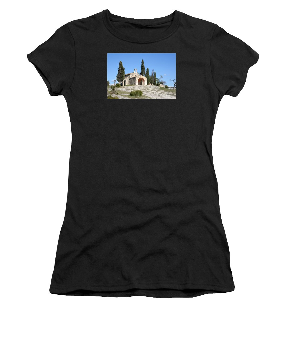 Chapel Women's T-Shirt (Athletic Fit) featuring the photograph Saint Sixte An Old Chapel by Christiane Schulze Art And Photography