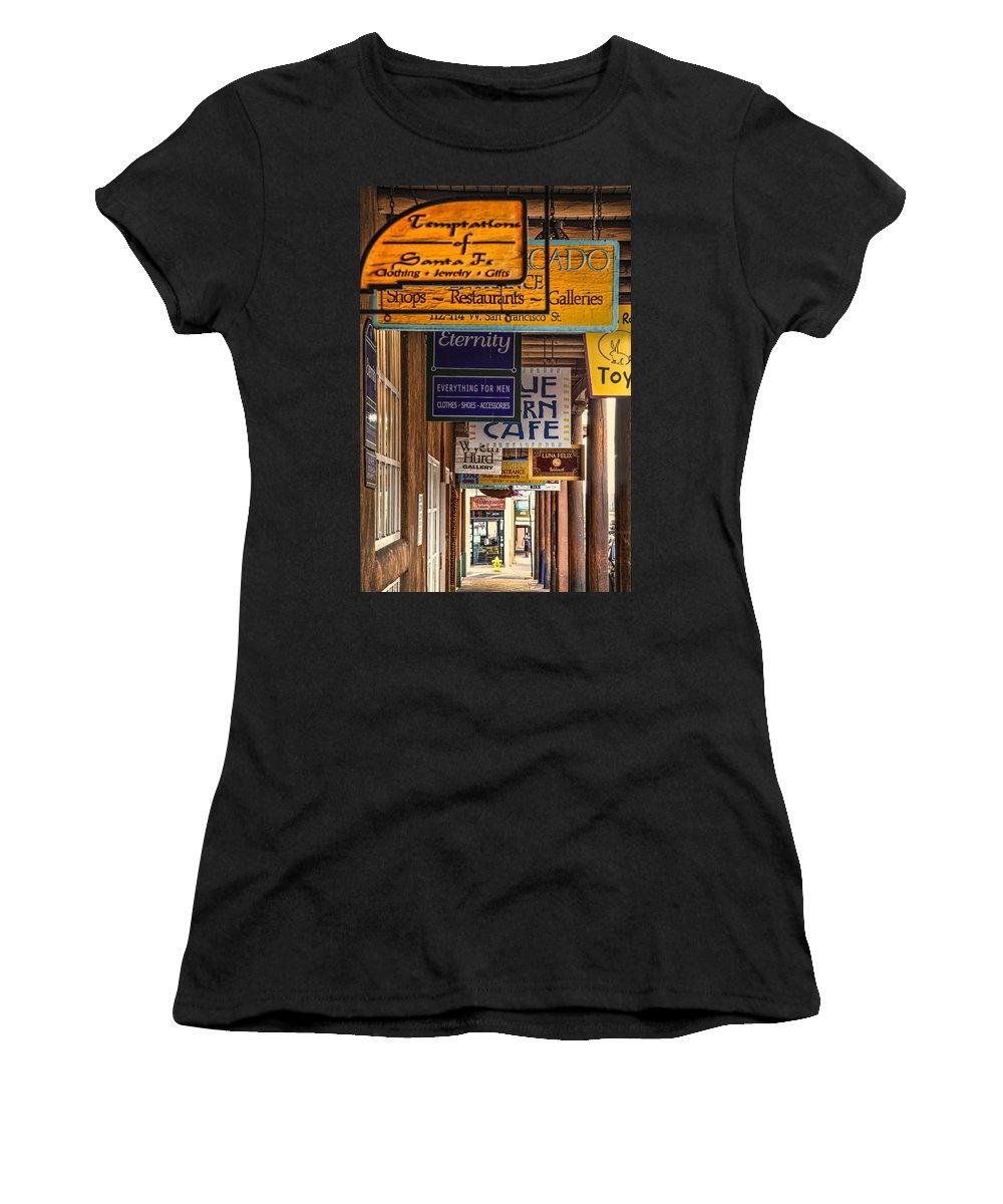 Santa Fe Women's T-Shirt featuring the photograph San Francisco Street Shops by Diana Powell
