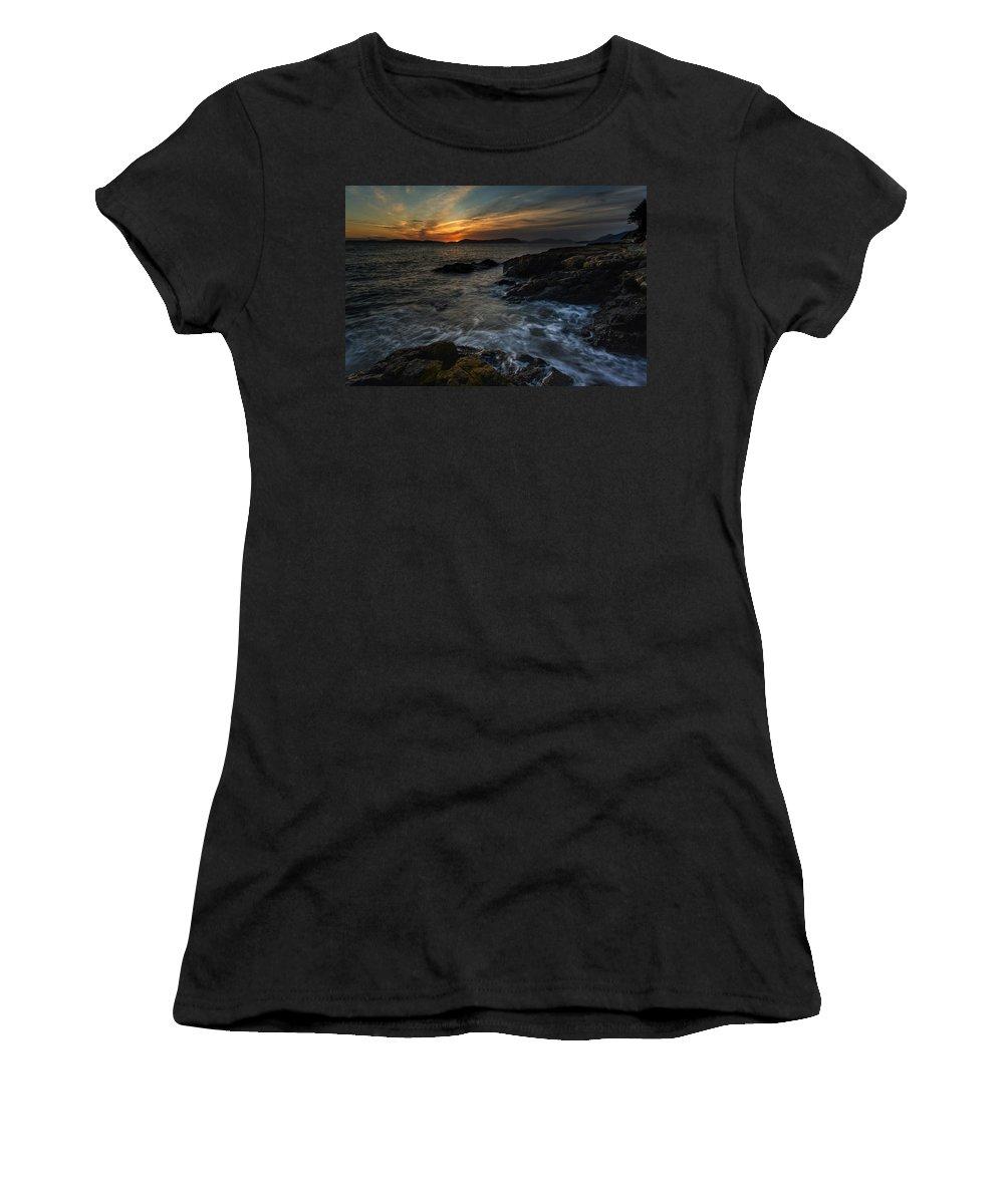 San Juan Islands Women's T-Shirt featuring the photograph San Juans Sunset Mood by Mike Reid