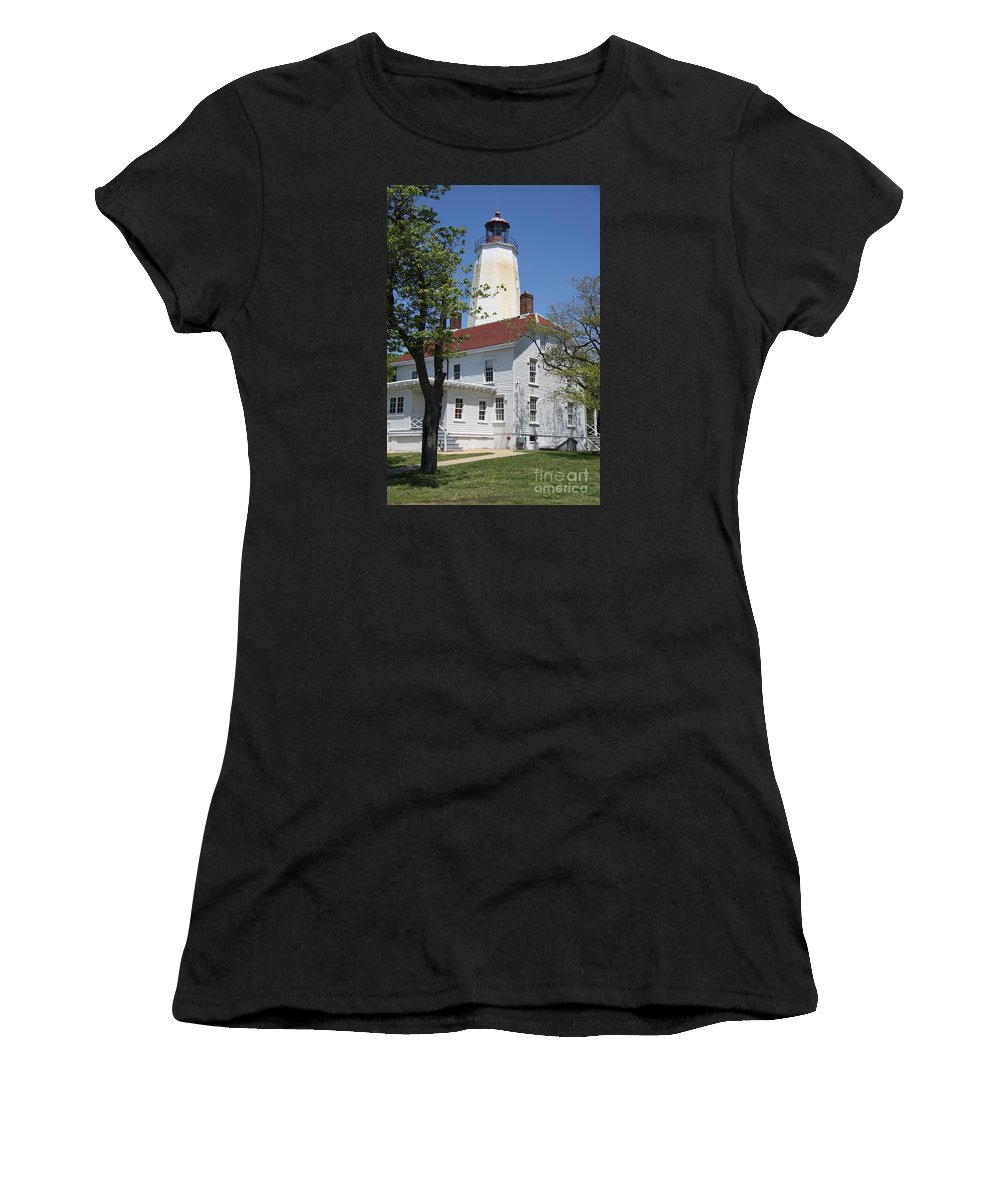 Lighthouse Women's T-Shirt (Athletic Fit) featuring the photograph Sandy Hook Lighthouse Iv by Christiane Schulze Art And Photography