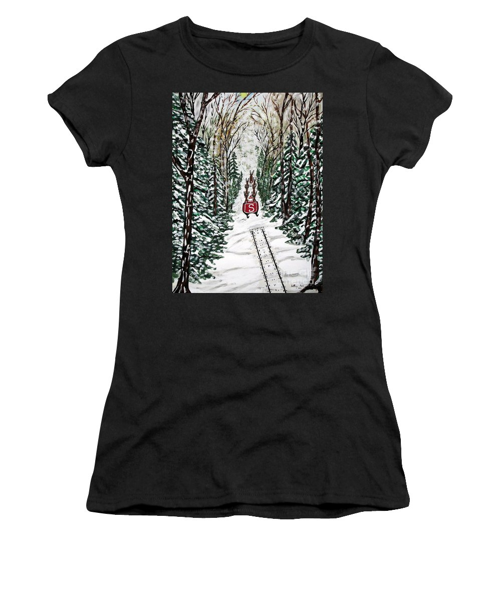 Santa Women's T-Shirt featuring the painting Santa Flying To Your House by Jeffrey Koss