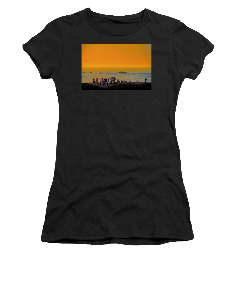 Waterscape Women's T-Shirt (Athletic Fit) featuring the photograph Santa Monica Beach Sunset by Ben and Raisa Gertsberg