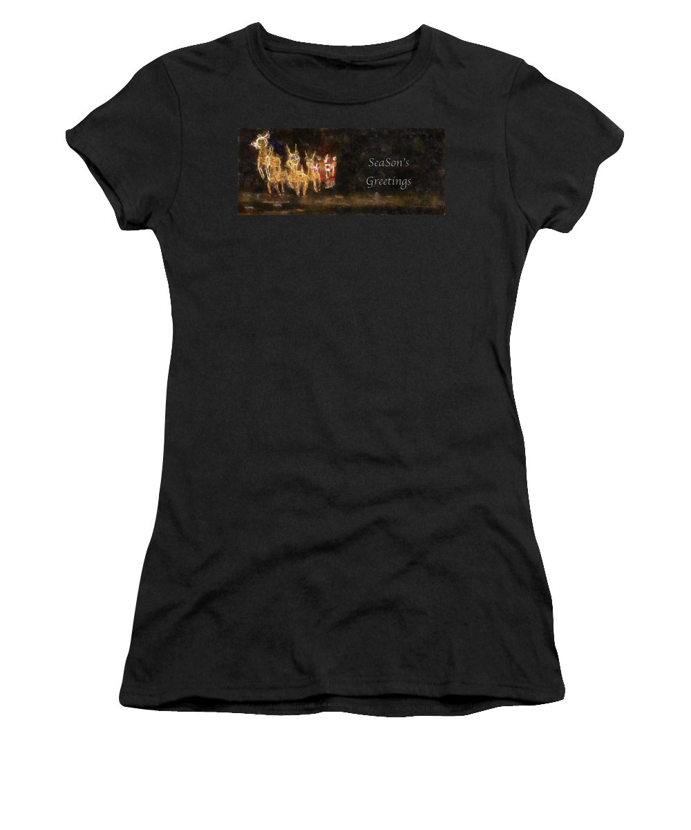 Christmas Women's T-Shirt (Athletic Fit) featuring the photograph Santa Season Greetings Photo Art by Thomas Woolworth