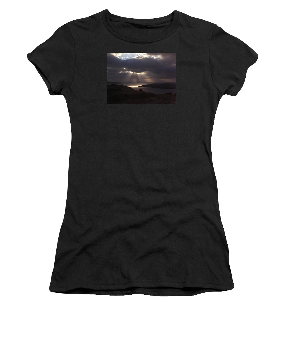 Santorini Women's T-Shirt (Athletic Fit) featuring the photograph Santorini. Sunlight On Volcano by Thiras art