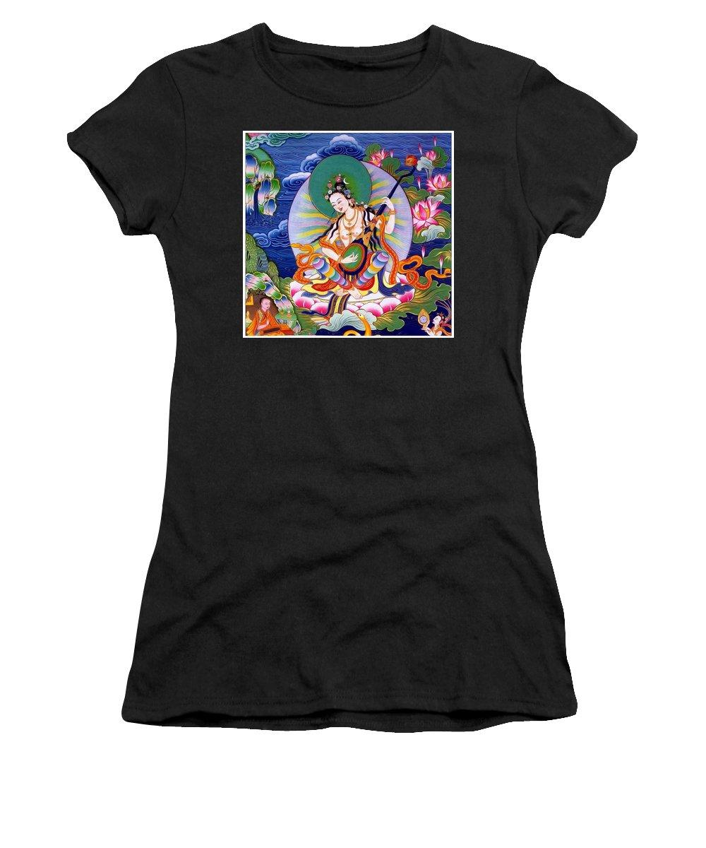 Saraswati Women's T-Shirt (Athletic Fit) featuring the photograph Saraswati 5 by Jeelan Clark