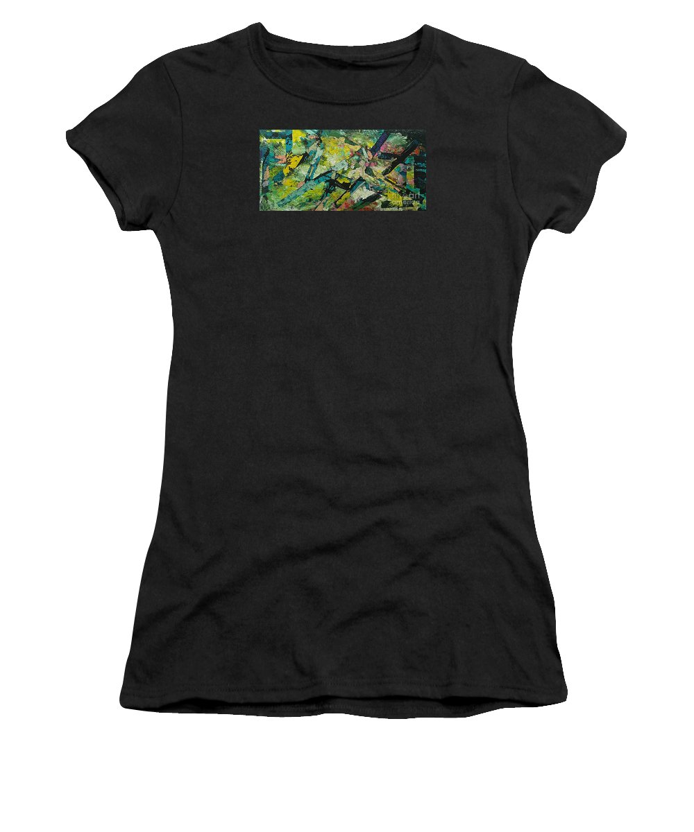Landscape Women's T-Shirt (Athletic Fit) featuring the painting Saturday Night by Allan P Friedlander