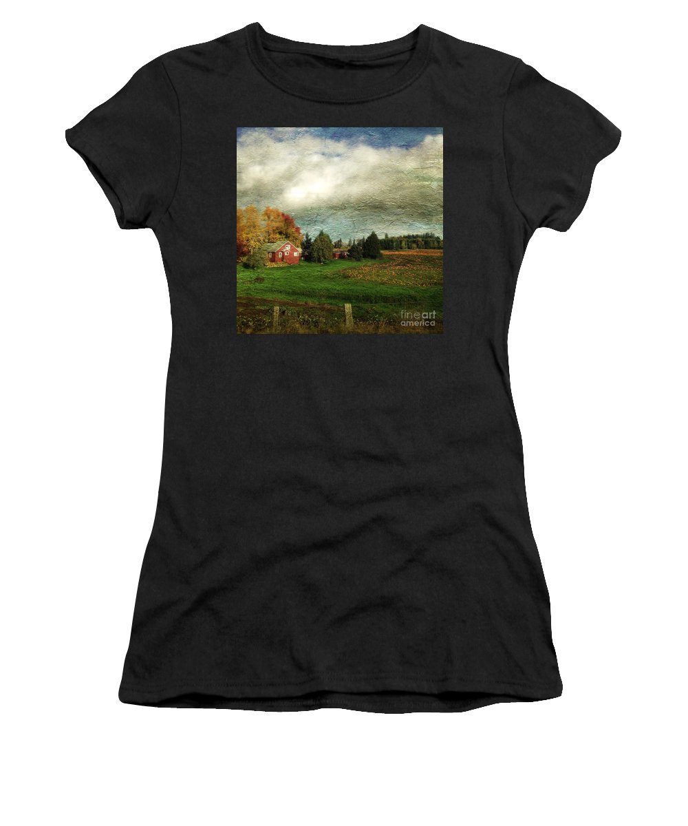 Sauvie Women's T-Shirt (Athletic Fit) featuring the photograph Sauvie Island Farm by Charlene Mitchell