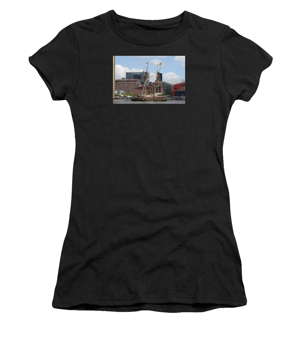 Harbor Women's T-Shirt (Athletic Fit) featuring the photograph Schooner Arriving At Baltimore Inner Harbor by Christiane Schulze Art And Photography