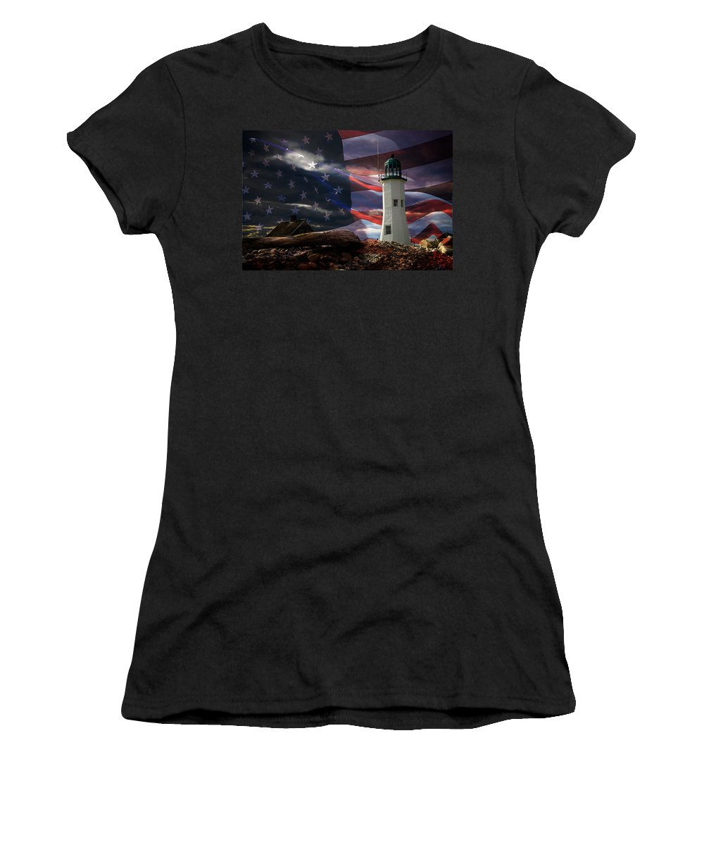 Lighthouses Of New England Women's T-Shirt (Athletic Fit) featuring the photograph Scituate Strong Protecting American Shoreline by Jeff Folger