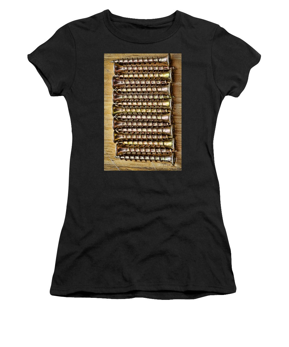 Screw Women's T-Shirt (Athletic Fit) featuring the photograph Screws In A Line 1 by Debbie Portwood