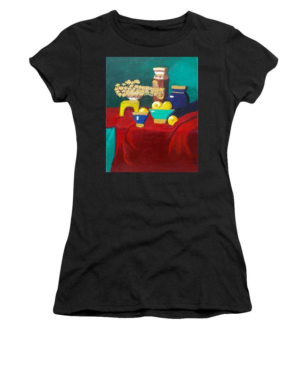 Still Life Women's T-Shirt featuring the painting Seafoam Green On Red Velvet by Margaret Harmon