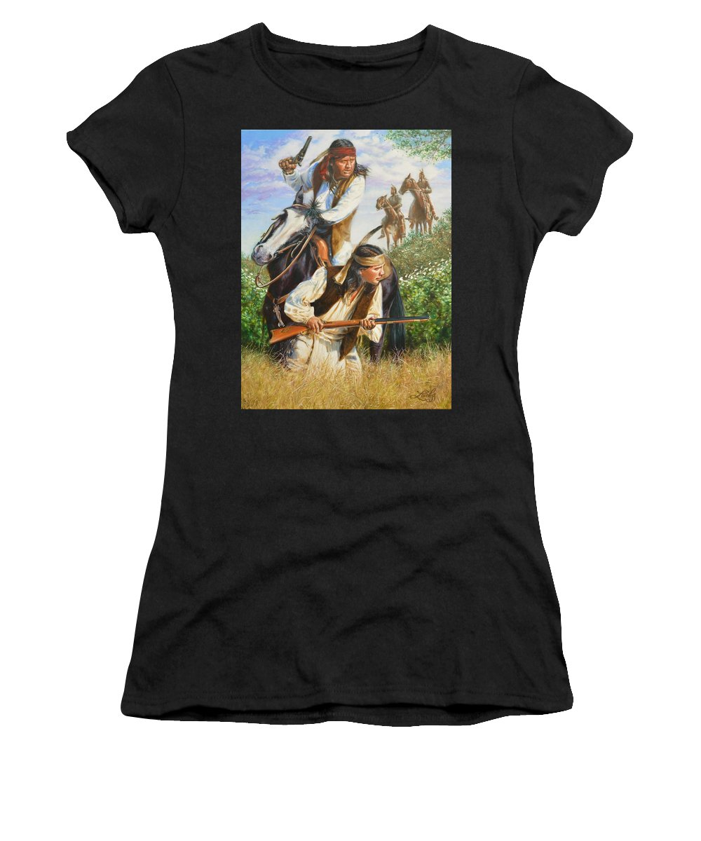 Western Women's T-Shirt featuring the painting Search Party by James Loveless
