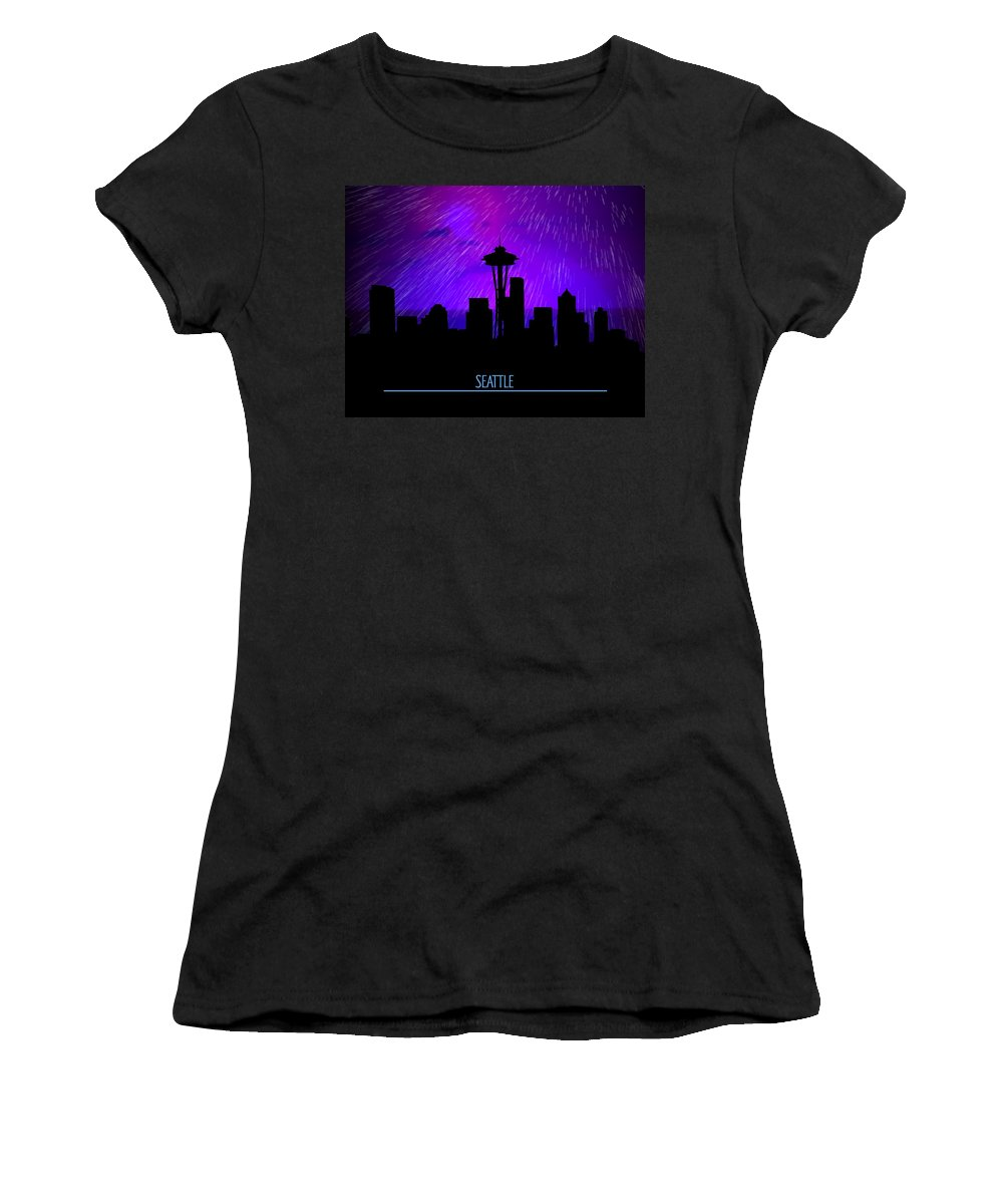 Rainy Seattle Skyline Women's T-Shirt featuring the digital art Seattle Skyline by John Wills
