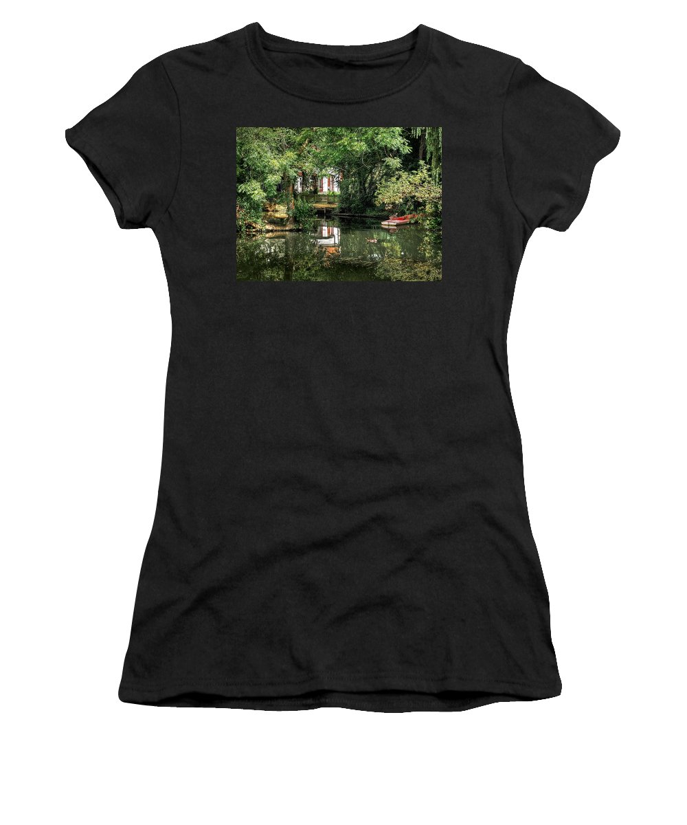 River Boat Women's T-Shirt (Athletic Fit) featuring the photograph Secret Retreat - River Reflections by Gill Billington