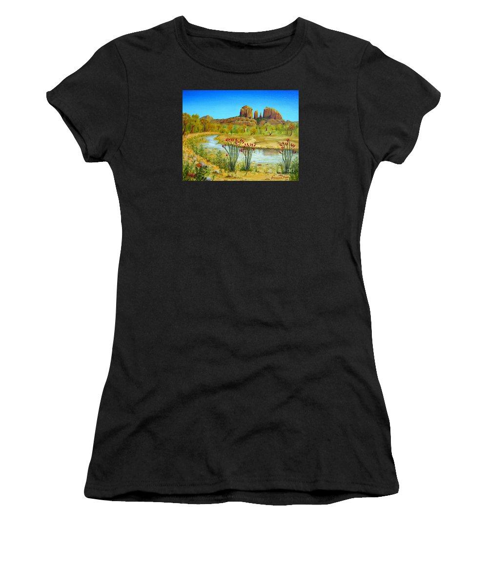Sedona Women's T-Shirt (Athletic Fit) featuring the painting Sedona Arizona by Jerome Stumphauzer