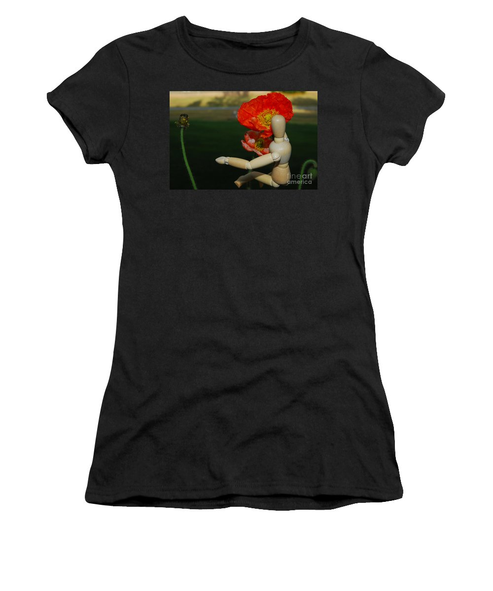 Wood Women's T-Shirt featuring the photograph Seeking A Yellow Brick Road Poppy Number Three Horizontal by Heather Kirk