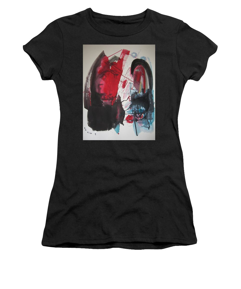 Red Paintings Women's T-Shirt featuring the painting Seem To Happen Suddenly Original Abstract Colorful Landscape Painting For Sale Red Blue Green by Seon-Jeong Kim