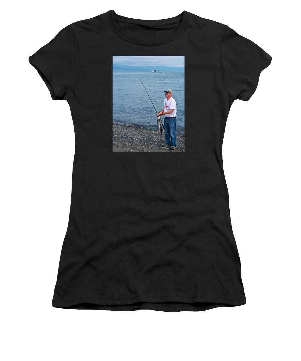 Senior Caught A Pollock In Kachemak Bay Off Homer Spit Women's T-Shirt (Athletic Fit) featuring the photograph Senior Caught A Pollock In Kachemak Bay Off Homer Spit-alaska by Ruth Hager