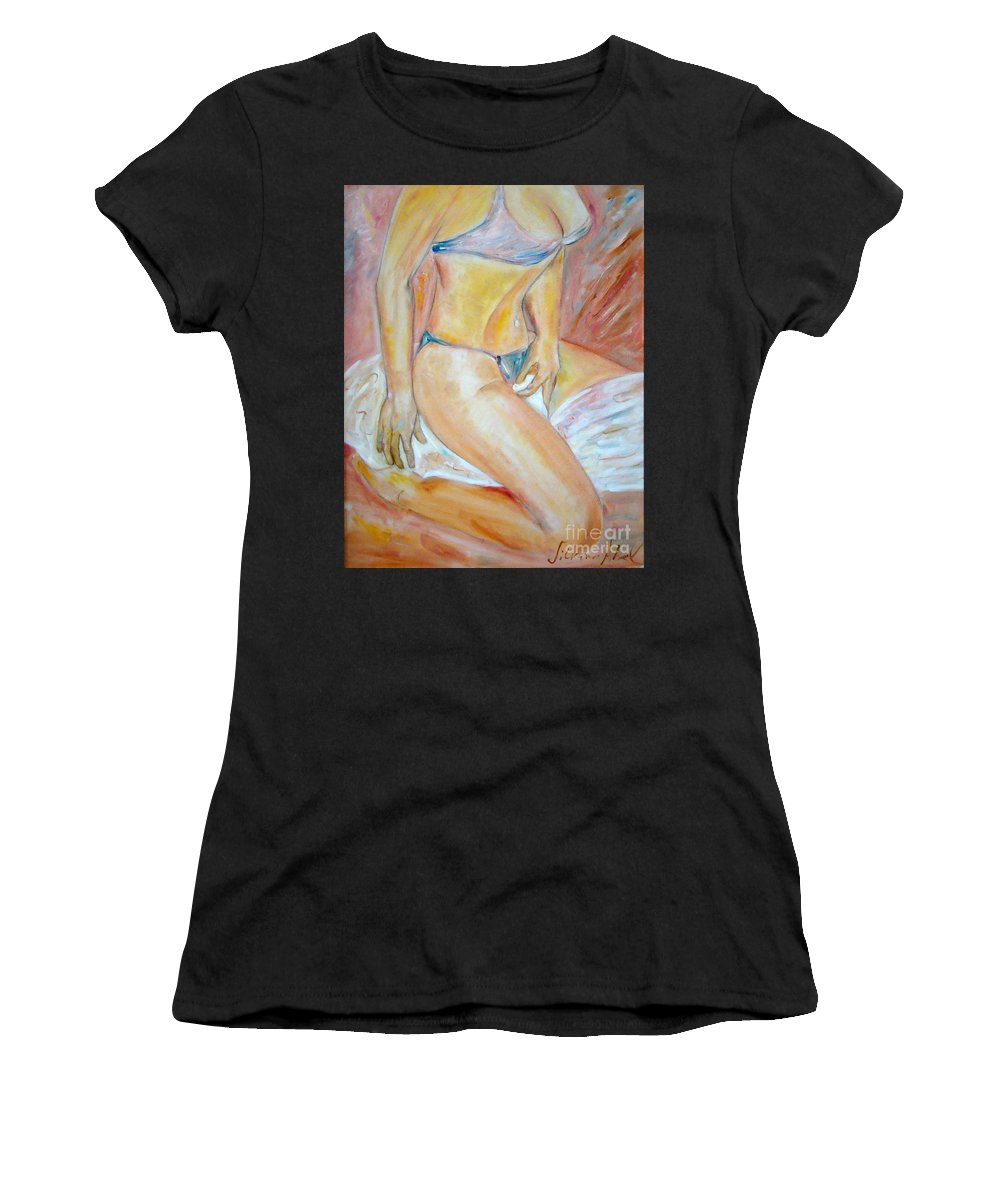 Contemporary Art Women's T-Shirt (Athletic Fit) featuring the painting Sensual by Silvana Abel