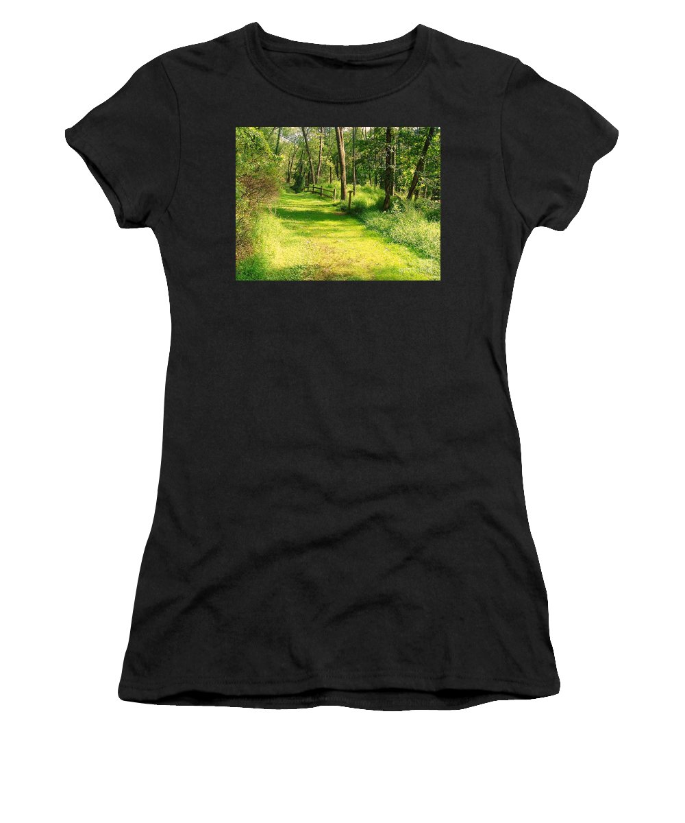 Fence Women's T-Shirt (Athletic Fit) featuring the photograph Serenity by Becky Lupe