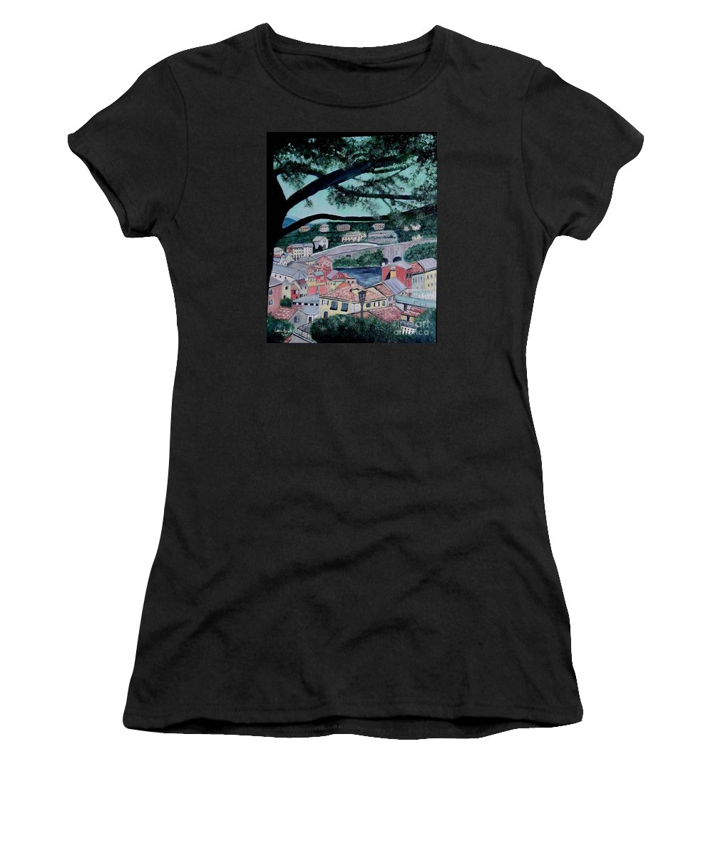 Italy Women's T-Shirt (Athletic Fit) featuring the painting Sestri Levante by Laurie Morgan