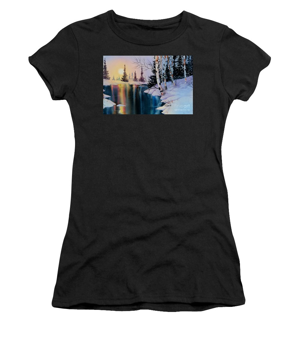 Setting Sun Women's T-Shirt (Athletic Fit) featuring the painting Setting Sun by Teresa Ascone