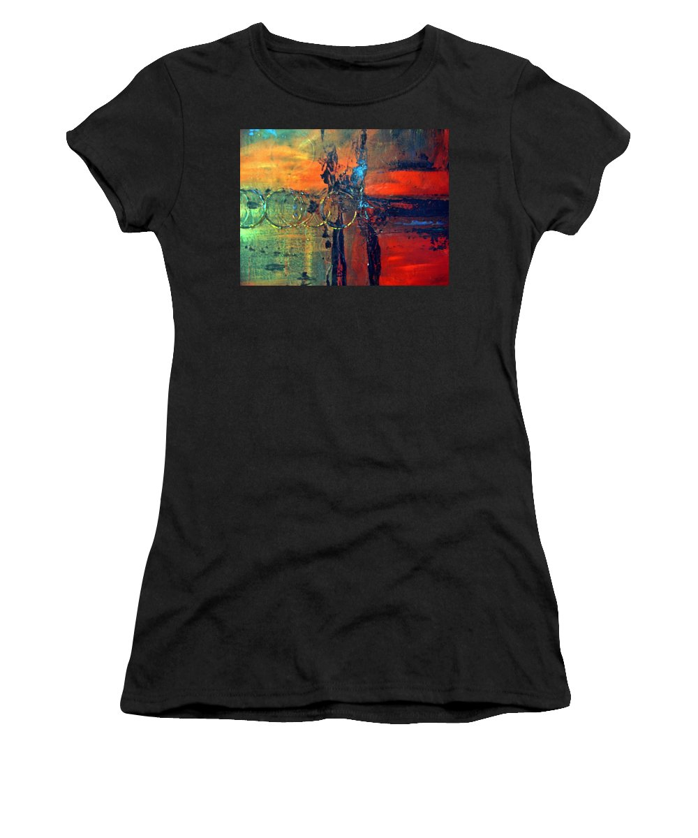 Abstract Women's T-Shirt featuring the painting Seven Rings by Sheila Neeley