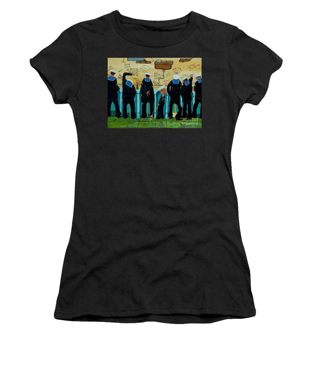 Sailors Women's T-Shirt (Athletic Fit) featuring the painting Seven Sailors by Anthony Dunphy