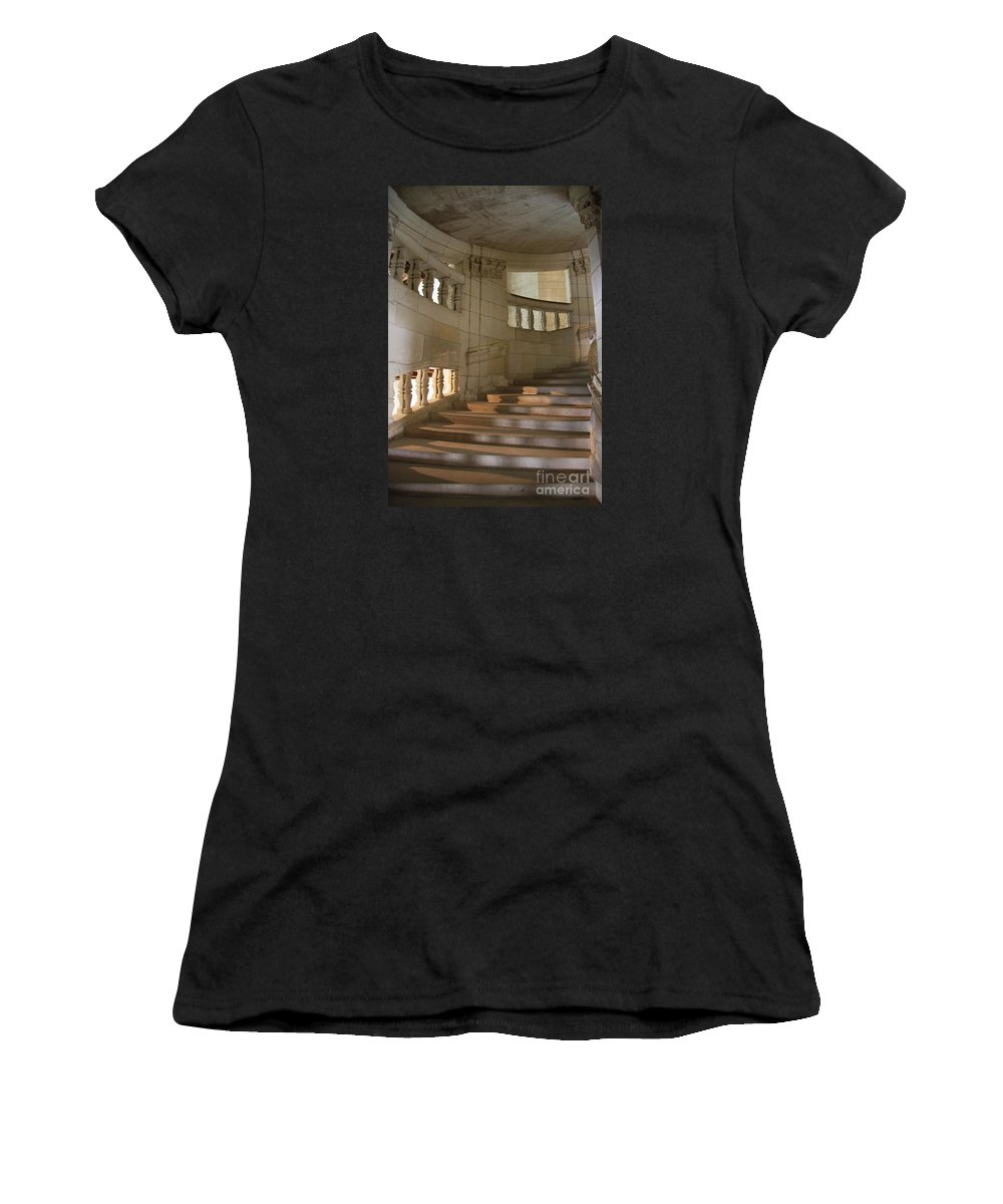 Staircase Women's T-Shirt (Athletic Fit) featuring the photograph Shadows On Chateau Chambord Stairs by Christiane Schulze Art And Photography