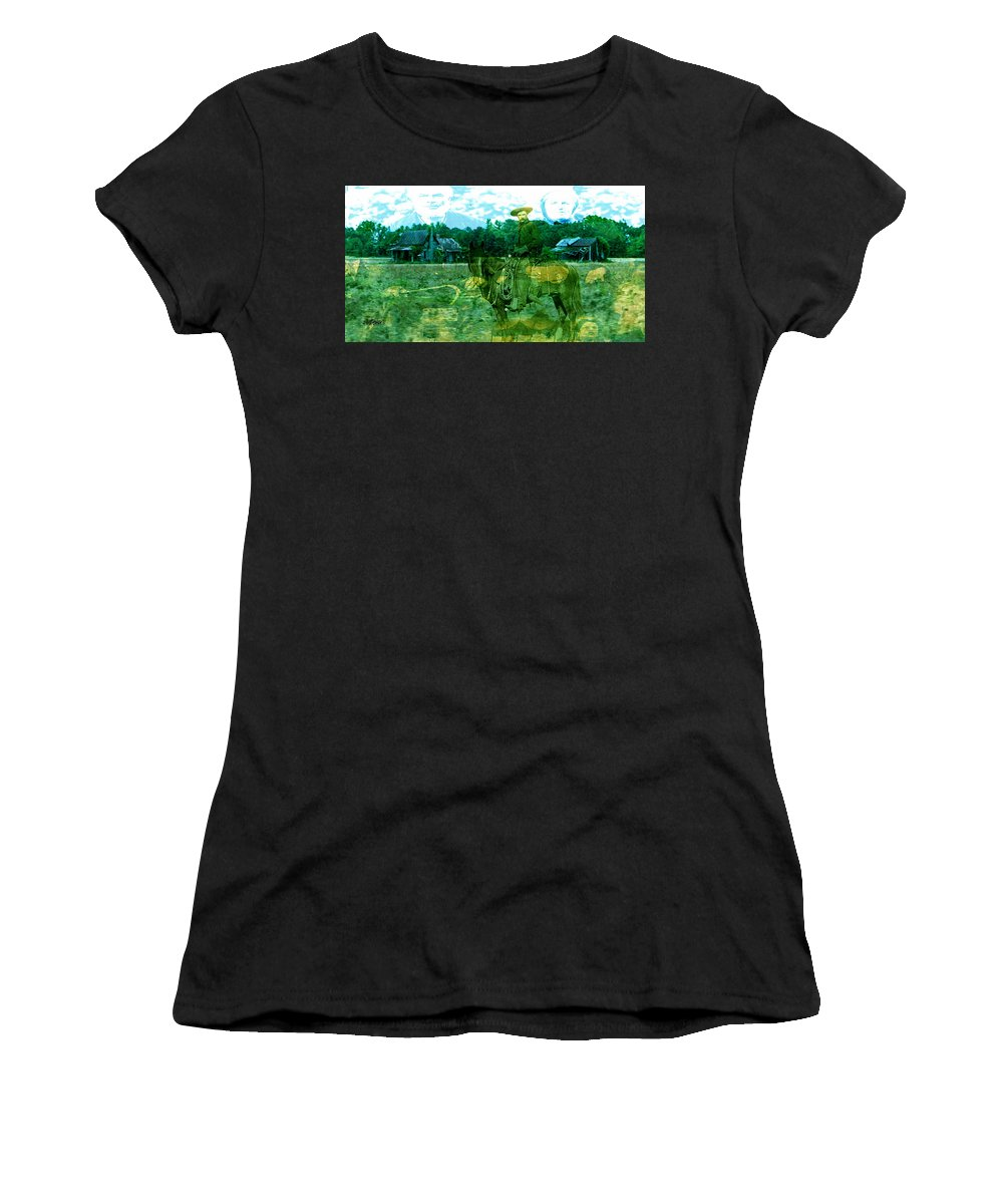 Shadow On The Land Women's T-Shirt (Athletic Fit) featuring the digital art Shadows On The Land by Seth Weaver