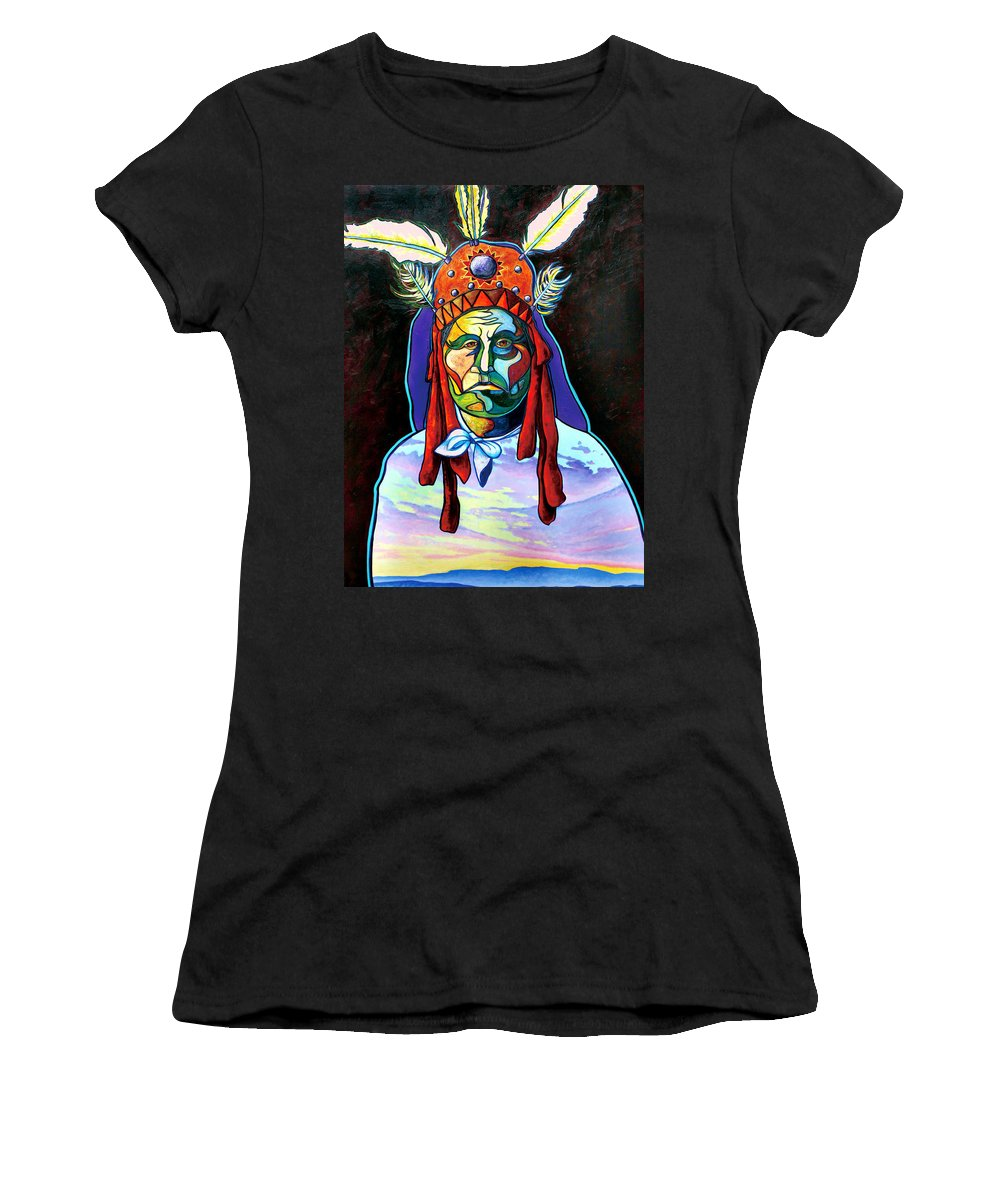 American Indian Women's T-Shirt (Athletic Fit) featuring the painting Shamans Power by Joe Triano