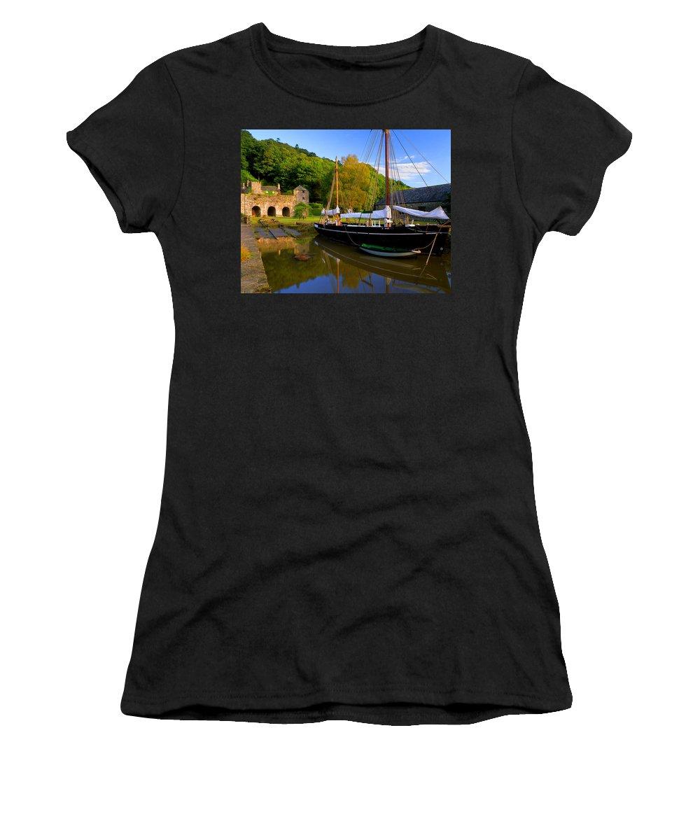 Cornwall Women's T-Shirt featuring the photograph Shamrock Barge by Darren Galpin