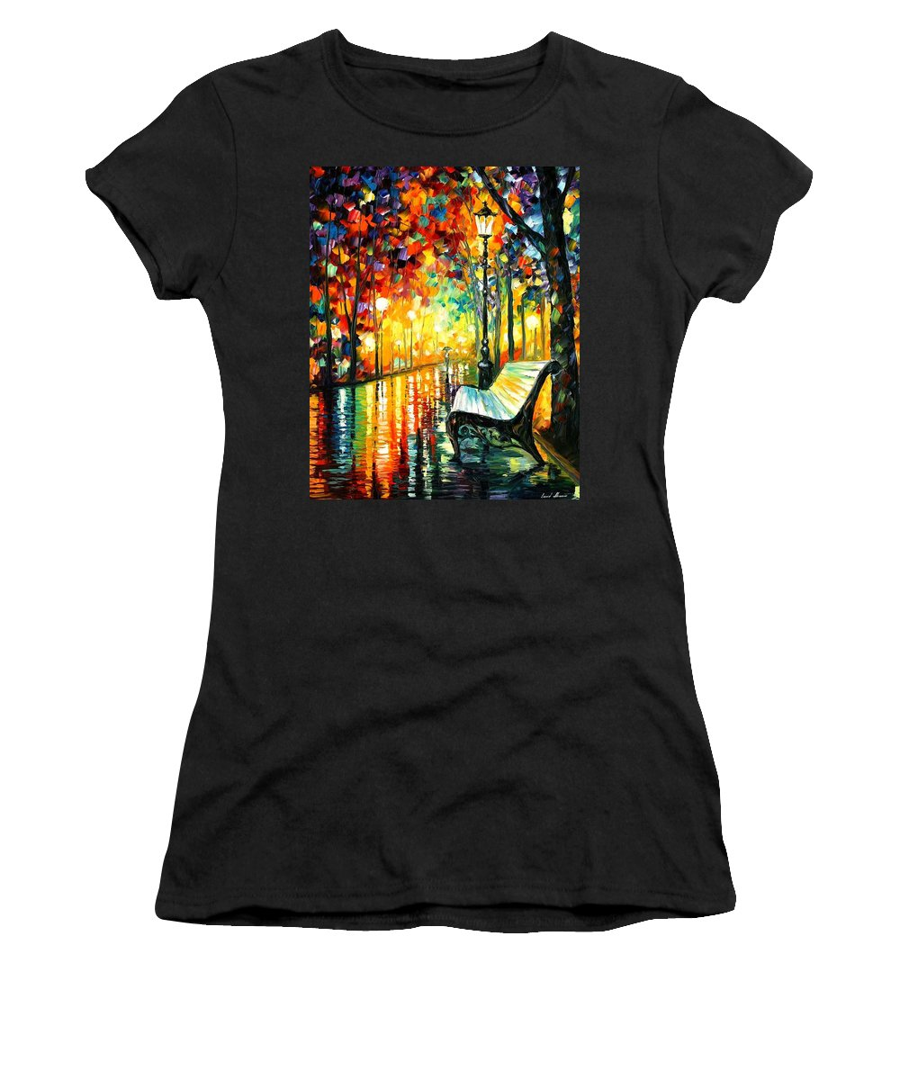 Oil Paintings Women's T-Shirt featuring the painting She Left... - Palette Knife Oil Painting On Canvas By Leonid Afremov by Leonid Afremov