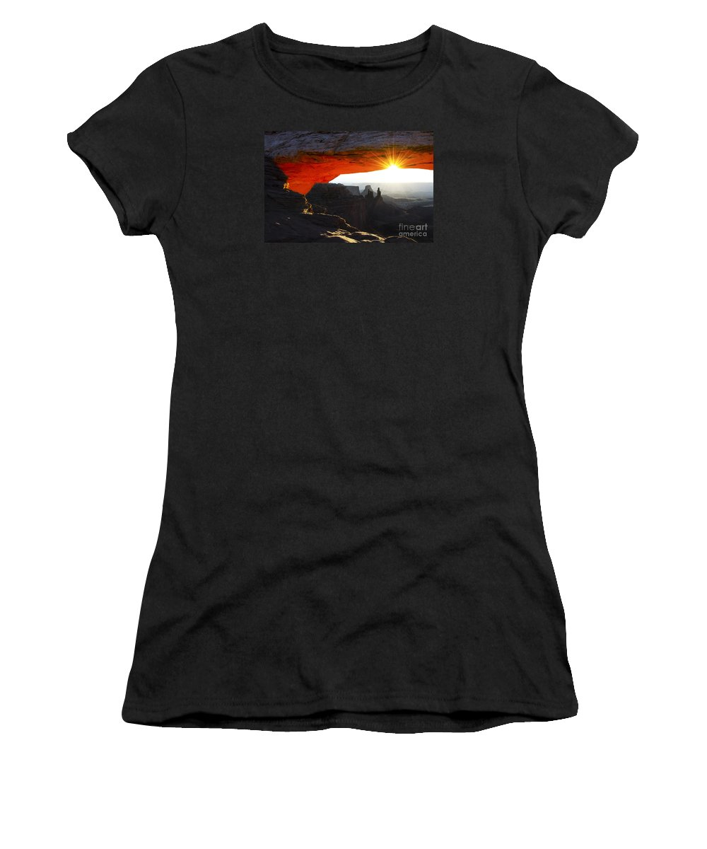 Mesa Arch Women's T-Shirt featuring the photograph Sheer Magic Mesa Arch Utah by Bob Christopher