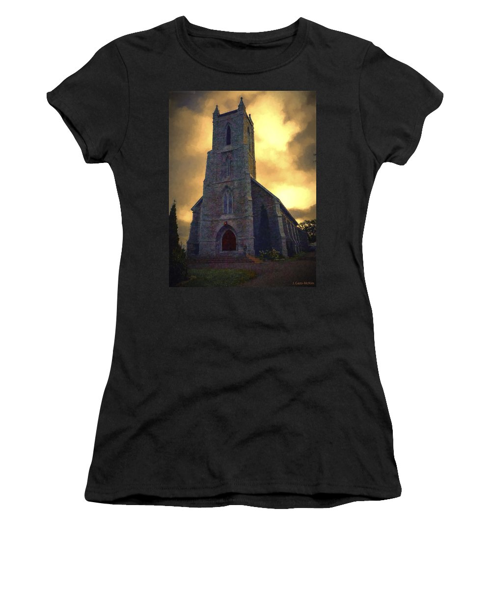 Church Women's T-Shirt (Athletic Fit) featuring the digital art Shelter From The Storm by Jo-Anne Gazo-McKim