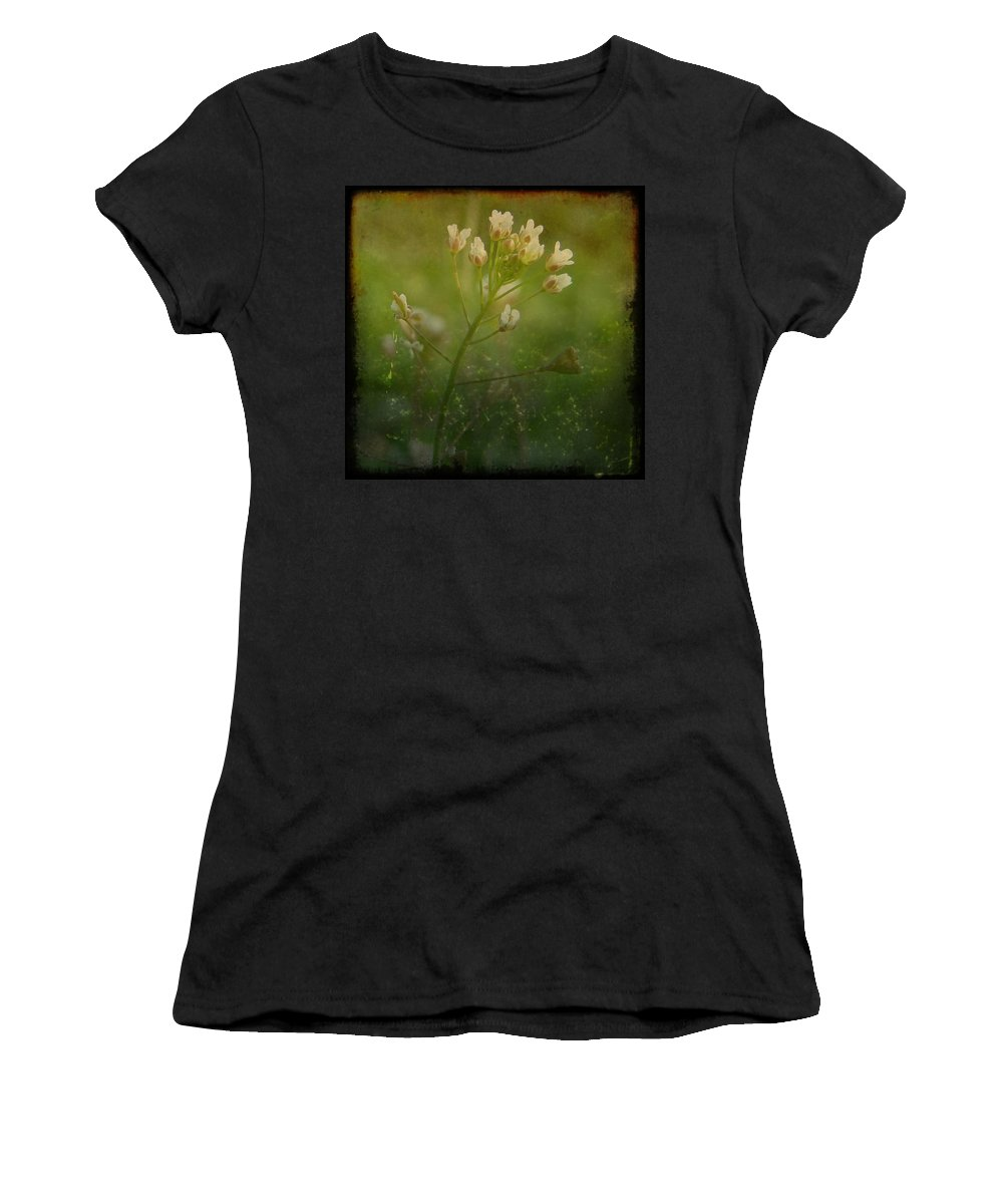 Weed Women's T-Shirt (Athletic Fit) featuring the digital art Shepherd's Purse by Cassie Peters