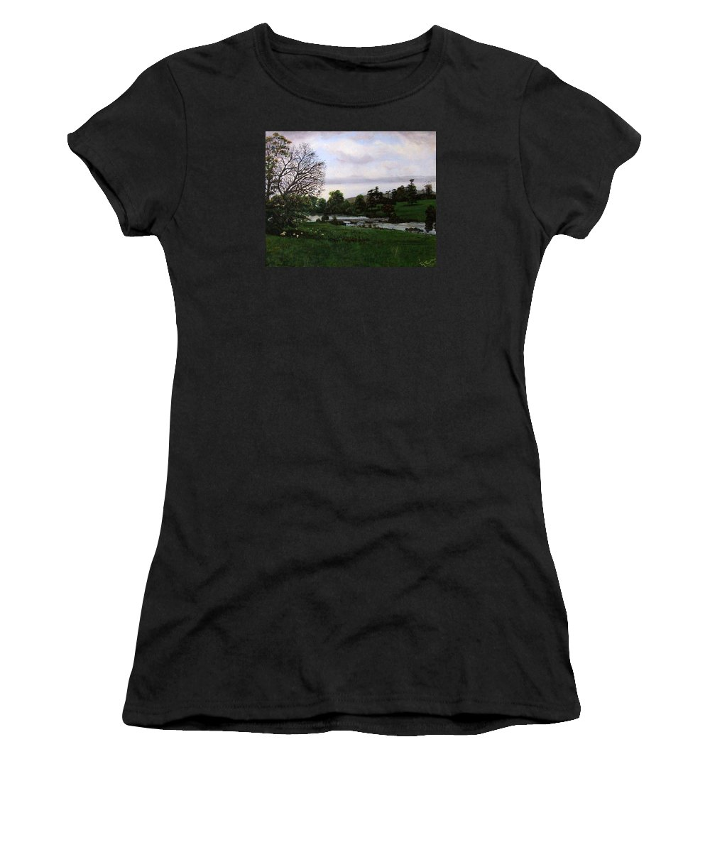 Crediton Women's T-Shirt (Athletic Fit) featuring the painting Shobrooke Park Crediton Devon by Mackenzie Moulton
