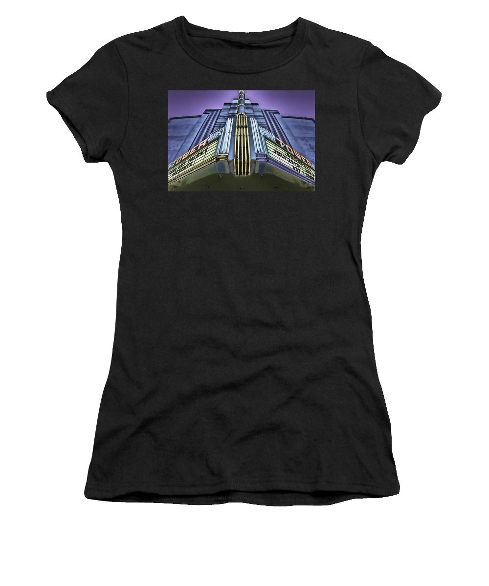 Tower Theater Women's T-Shirt (Athletic Fit) featuring the photograph Showtime by Digital Kulprits