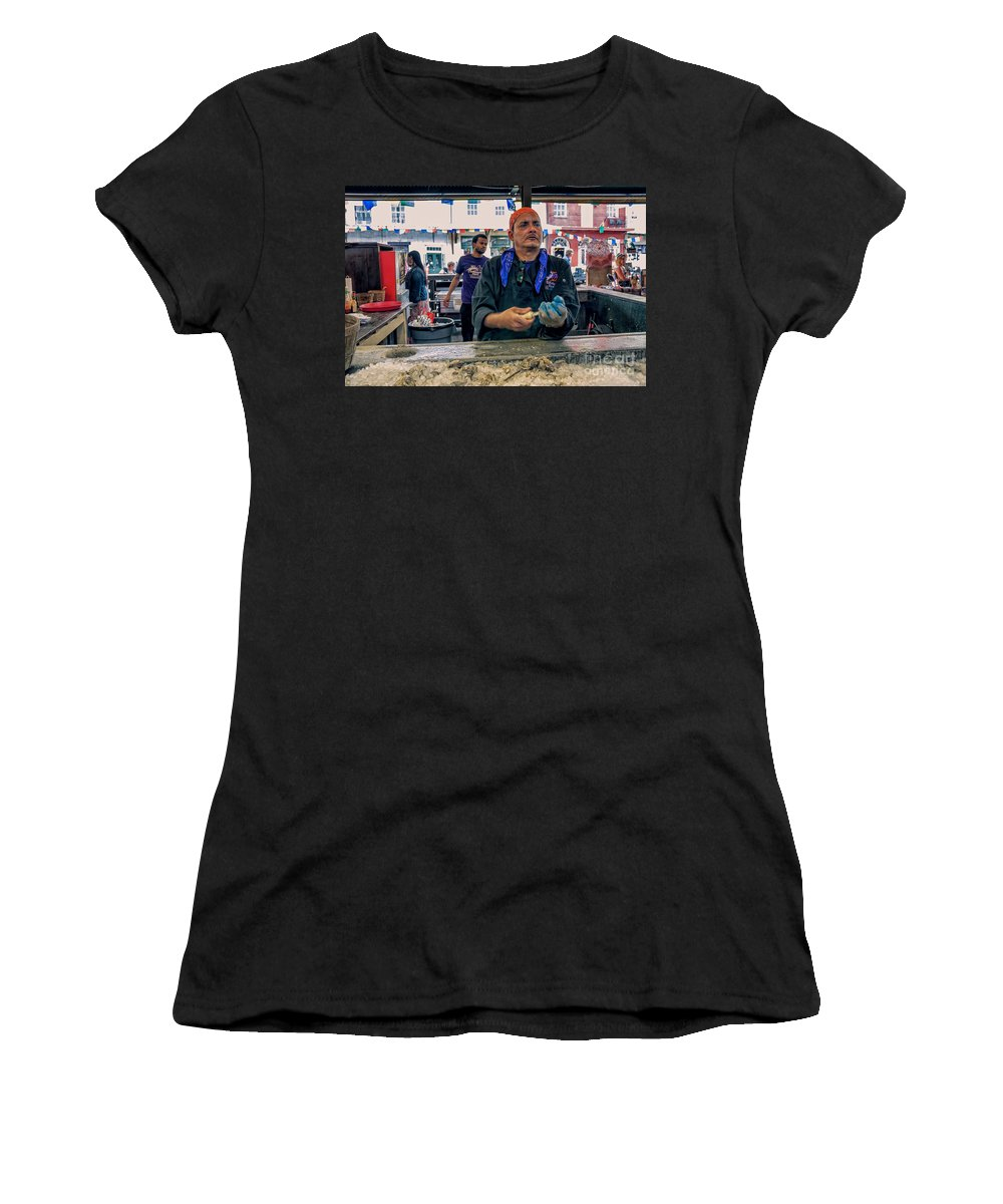 Man Women's T-Shirt featuring the photograph Shucking Oysters In The French Quarter by Kathleen K Parker